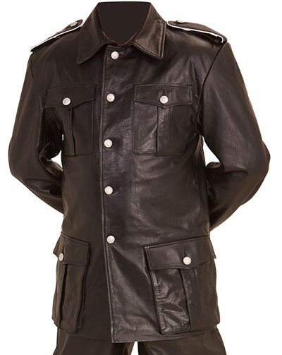 Ww2 German M36 Officer Tunic Black Leather Reproduction
